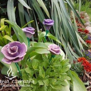Kwiat ceramiczny fioletowy