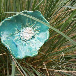 Kwiat ceramiczny turkusowy
